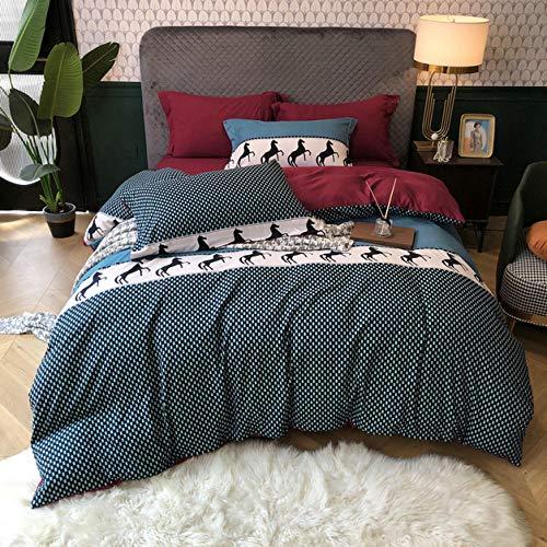 -Temporada de primavera y verano Norte de Europa Peinado Seda Seda de cuatro piezas Sentido fresco de sábanas de seda Ropa de cama en la ropa de cama Día de la madre Regalo-J_Cama de 2.0m (4 piezas)