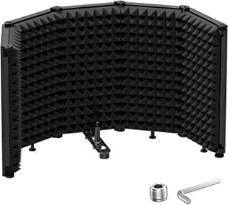 """محافظ جداگانه میکروفون جمع و جور Moukey Tabletop ، فیلتر پاپ ، تاشو با 3/8 """"و 5/8"""" پایه میکروفون ، فوم جاذب میکروفون برای ضبط صدای استودیو ، پادکست ها ، آواز ، پخش"""