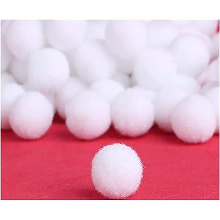Perlin - Lot de 125 pompons blancs de 20 mm de diamètre - Pour couture et travaux manuels - Avec bordure en peluche moelleuse - Pour loisirs créatifs et amusants.