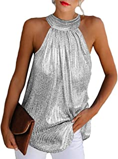 Camisas sin Mangas para Mujer Blusa Camisa con Cuello Colgante Tops Sueltos de Color sólido Ropa de Verano para Fiesta Fiesta Fiesta