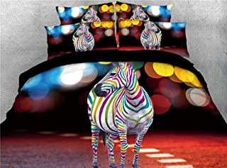 UniTendo 4-Piece Duvet Cover Sets 3D Beautiful Colorful Animal Theme Digital Bedding High Definition Carbon Colorful Zebra Print Twin Size.