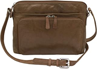 Women's Leather Shoulder Bag Purse with Side Organizer