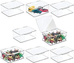 mDesign Zestaw 8 zabawek dla dzieci – mały pojemnik do przechowywania z pokrywą na zawiasach na zabawki – idealny do przec...