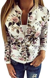 892ece39b49846 Damen Frühling Jacke FORH Frauen Elegant Blumenmuster Bedruckte Baseball  Mantel Mode Stehkragen Langarm Bomber Jacke Kurz