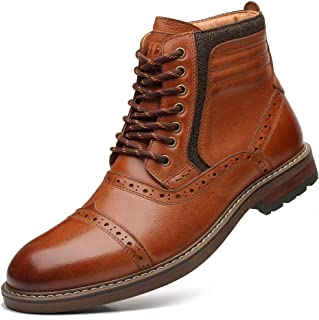 Sponsored Ad - Mens Chelsea Boots, Stylish and Comfort Leather Chukka Ankle Boots with Zipper (Brown)