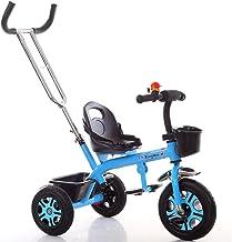 NAUY @ Triciclo ligero para niños 1-3-6 años Carruaje para bebés Niños y niñas Bicicletas Cochecito para bebés con Putter Sillas de paseo (color : Azul)