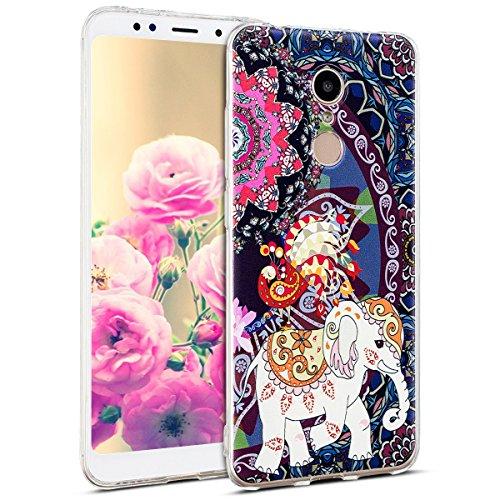 Uposao Kompatibel mit Hülle Xiaomi Redmi 5 Handyhüllen Transparent Weiche Silikon Durchsichtig TPU Kratzfest Schutzhülle Crystal Clear Ultra Dünn Silikonhülle Handytasche,Blumen Totem Elefant