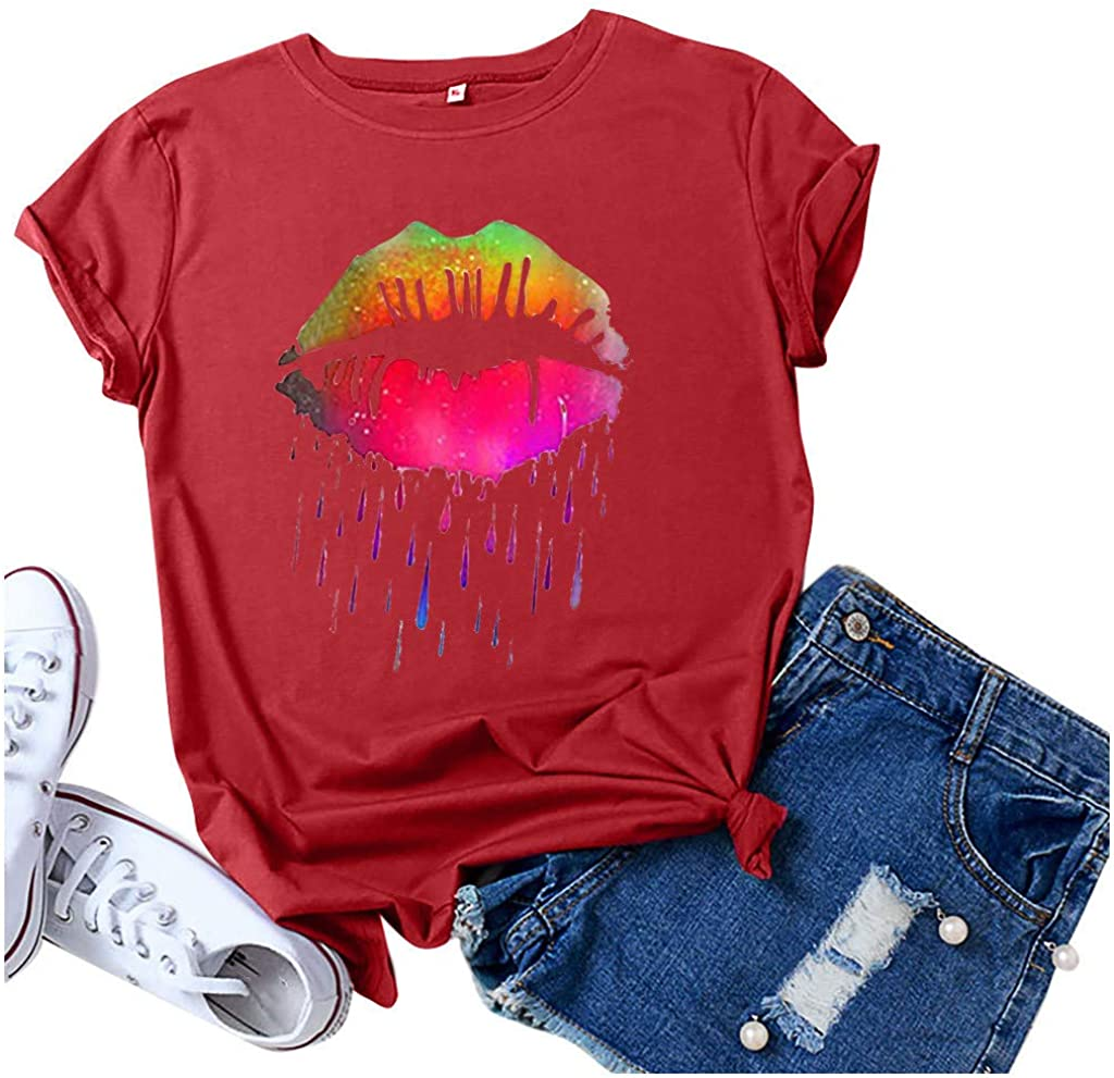 Aukbays T-Shirts for Women Womens Short Sleeve T-Shirt Sexy Rainbow Color Lips Funny Graphic Tie Tees 80s Tops Blouses