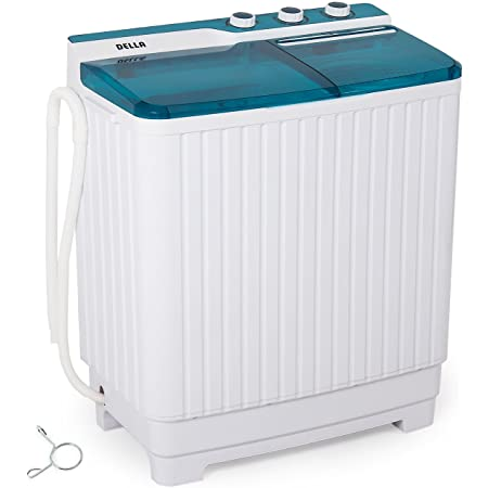 Della Compact Twin Tub Portable Mini Washing Machine Top Load Washer and Dryer Cycle (9KG) with Built-in Pump