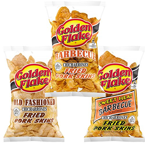Golden Flake Fried Pork Skins: Old Fashioned, Barbecue, Sweet Heat Barbecue Variety 3-Pack