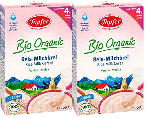 Töpfer Bio-Reis-Milchbrei Vanille, 2er Pack (2 x 200g)