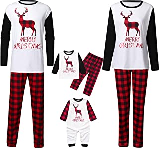 Holiday Grinch Pajamas Soft - Family Christmas Pajamas Set Xmas Deer Raglan Plaid Sleepwear for The Family Boys and Girls
