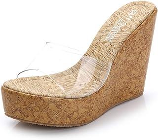 Ageaoa Cuñas Transparentes Sandalias de Mujer Tacones Altos Zapatillas Plataforma Impermeable Zapatilla Transparente Verano Tacones Peep Toe Sandalias de Boda