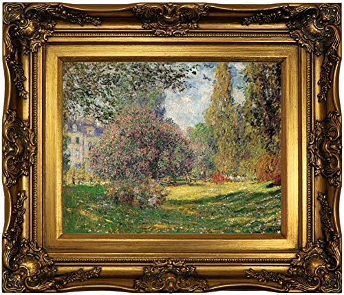 Historic Art Gallery The Park by Claude Monet Framed Canvas Print, Size 11x14, Gold