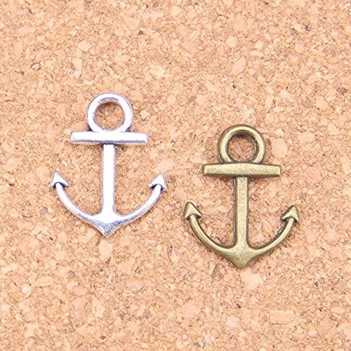 AMOZ Fashion30Pcs Charms Anchor Sea 19X15Mm Colgantes Antiguos, Joyería de Plata Tina Vintage, Diy para Collar de Pulsera,Chapado en Plata Antigua