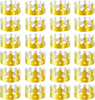 28 Pack Gold Paper Crown Gold Foil Party Crown Hat Cap for Birthday Celebration Baby Shower Photo Props (2 Styles)