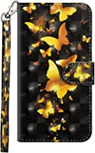 GARITANE Wallet Flip Case for Sony Xperia XA1 Ultra/G3223 G3221,Slim Leather BookStyle 3D Colorful Painting Cover Bumper with Kickstand Card Slot (Golden B-Fly)