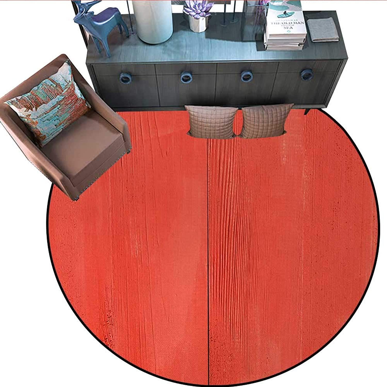 Coral Round Floor Cover Vintage Wood Board Plank Texture Image Aged Barn Door Lumber Grunge Natural Surface Door mat Indoors Bathroom Mats Non Slip (71  Diameter) Dark Coral