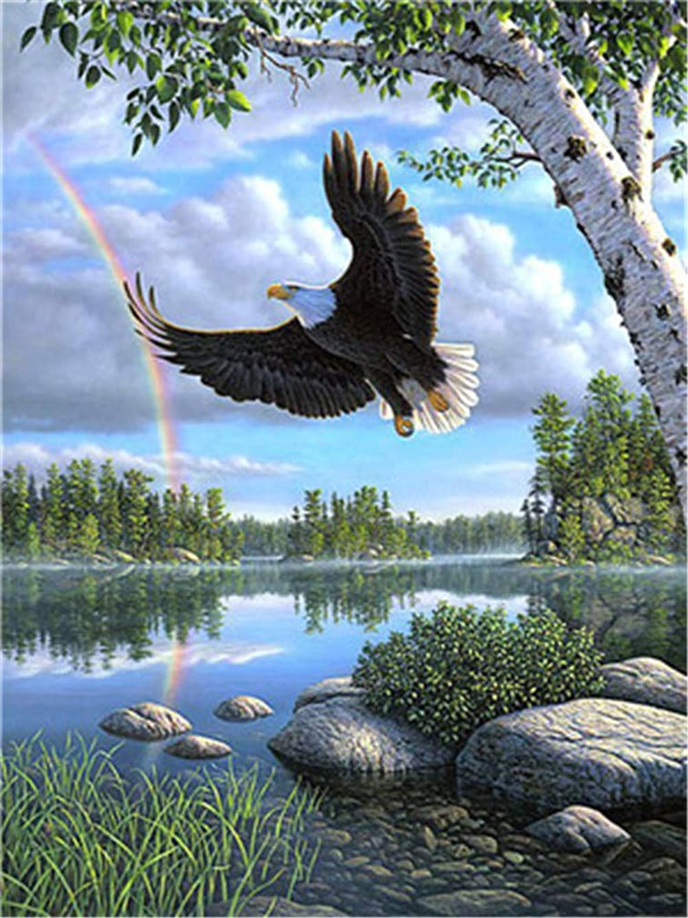 YEESAM ART DIY Paint by Numbers for Adults Beginner Kids, Eagle Rainbow Lake Landscape 16x20 inch Linen Canvas Acrylic Stress Less Number Painting Gifts (Eagle, Without Frame)