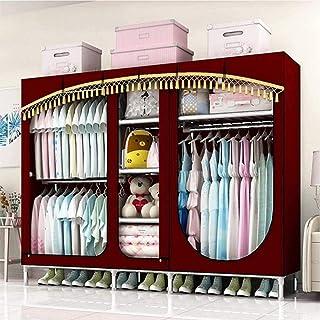 HWG Armoire Tissu Portable Armoire Rangement Tuyau en Acier épaissi De 25 Mm avec 3 Tringles à Vêtements Et 5 étagères, po...