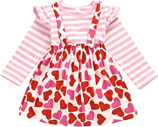 Toddler Baby Girls Valentine's Day Outfit Ruffles Long Sleeve Striped Top + Love Heart Suspenders Skirt Set