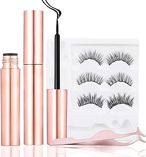AOSHR Magnetic Eyelashes with Eyeliner,Magnetic Eyeliner and Lashes Kit,Reusable and No Glue,Magnetic False Lashes with Tweezers (3 Pairs)