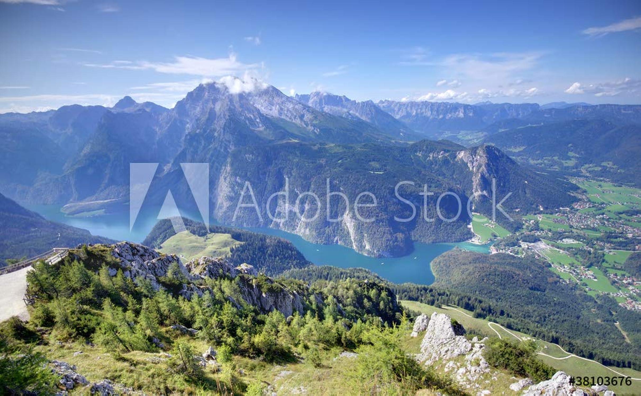 Druck-shop24 38103676 - Imagen sobre lienzo, póster de fotos (cristal acrílico, lámina adhesiva), Diseño de Alps Mountains y Konigssee Lake en Bavaria, vídrio acrílico, 3 2 - 60 x 40 cm   40 x 60 cm