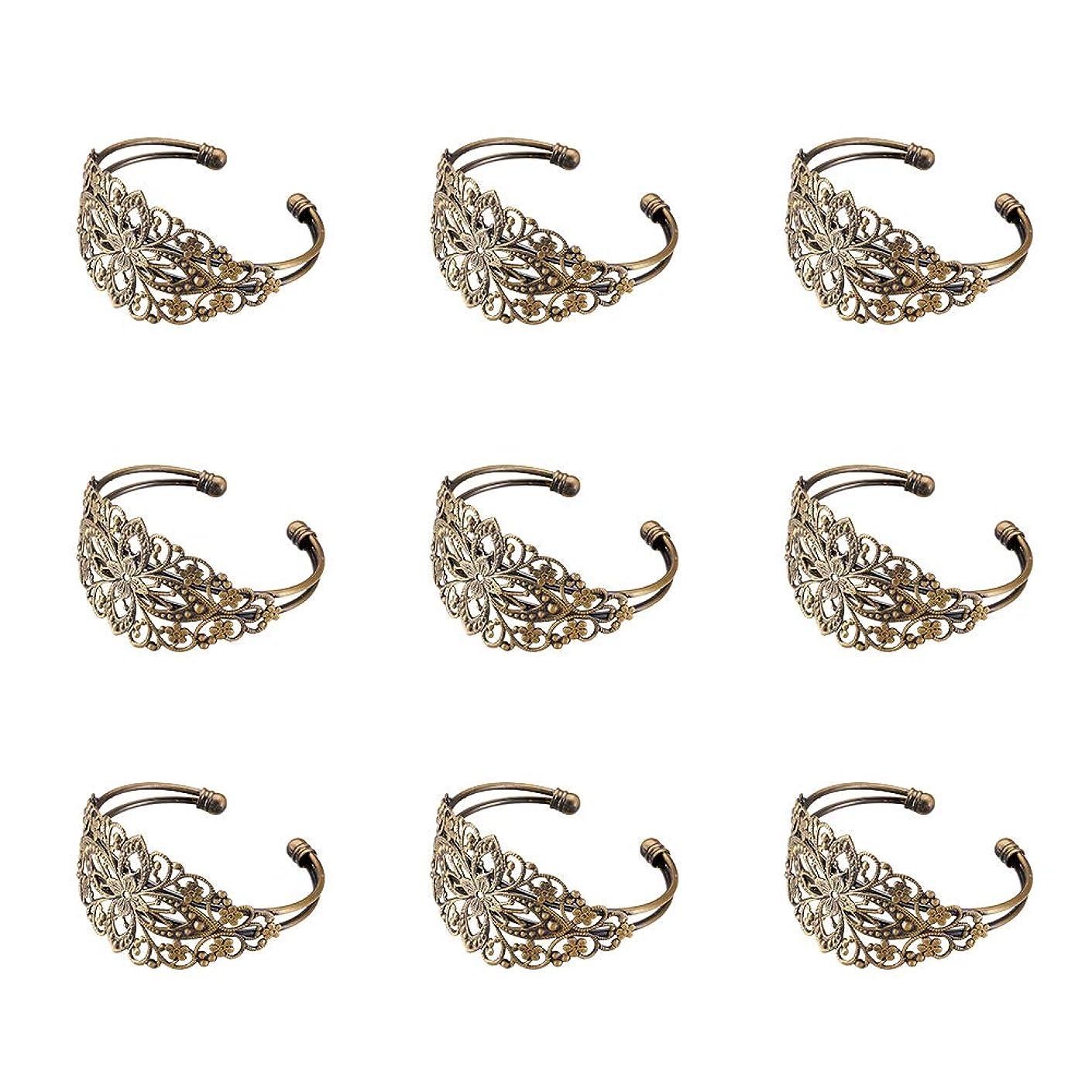 Beadthoven 5pcs Adjustable Bass Cuff Filigree Bracelet Making Cadmium Free & Nickel Free & Lead Free Antique Bronze Color