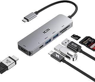ICZI Hub USB C 6 in 1 USB Type-C Adattatore Porta 4K HDMI,Slot Schede SD e MicroSD,2 Porte USB 3.0,Porta di Ricarica PD 10...