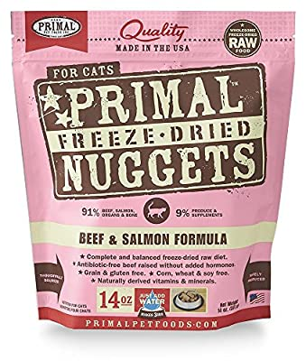 Primal Pet Food - Freeze Dried Cat Food Nuggets for Feline 14-Ounce Bag Bundle with Hotspot Pet Food Bowl - Made in USA (Beef & Salmon)