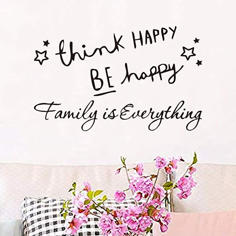 Melestore Think Happy Be Happy Family Is Everything Wall Decal Stickers Kitchen Room Bedroom Vinyl Quotes Decor Letters Boys Nursery Kids Quote