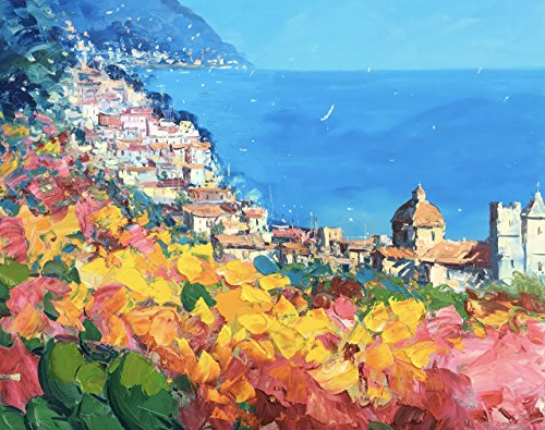 Positano Italy Amalfi Coast Artwork Beach Paper and Canvas Art Abstract Giclee from Original Oil Painting of Agostino Veroni