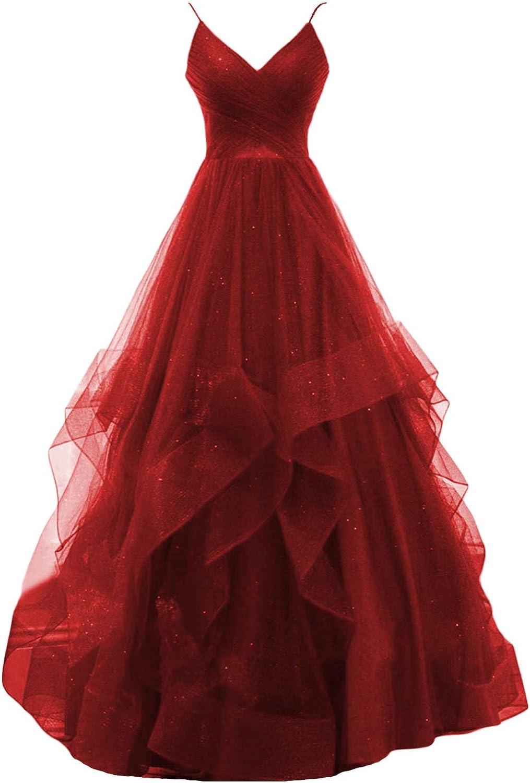 OYILAN Women's Glitter Prom Dresses Long 2021 V-Neck Formal Evening Gown