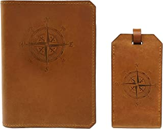 Handmade Wax Leather Embossed Travel Set – Passport Holder and Luggage Tag – SIM Card Eject Pin Tool Included