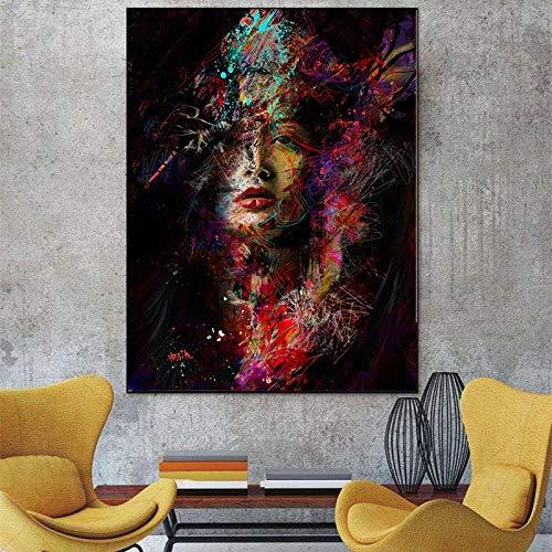 KWzEQ Leinwanddrucke Porträtkunst für Wohnzimmer dekorative Bilder und Poster Wandkunst70x90cmRahmenlose Malerei