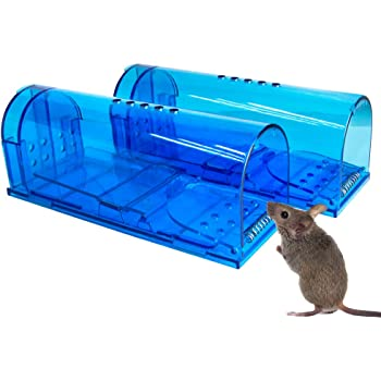 Humane Mouse Trap | 2 pack Catch and Release Mouse Traps that Work | Mice Trap No Kill for mice/rodent Pet Safe (Dog/Cat) Best Indoor/Outdoor Mousetrap Catcher Non Killer Small Mole Capture Cage