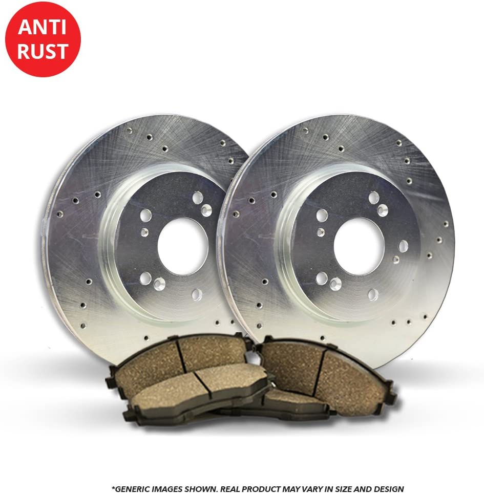 Front Kit High-End 2 Silver R Cross-Drilled San Antonio Mall Purchase Brake Disc Coated