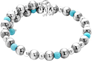 American West Sterling Silver and Blue Turquoise Beaded Single Wrap Bracelet