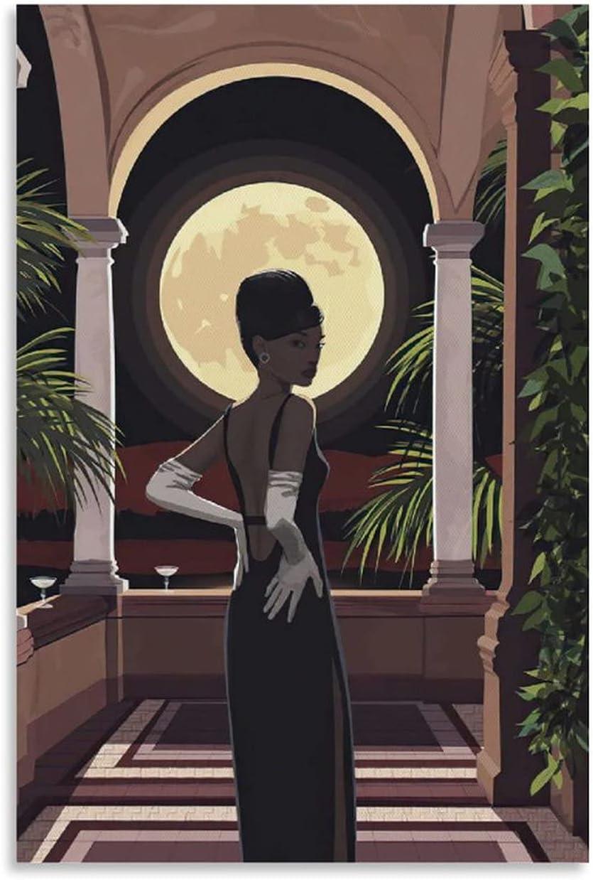 XZAQ African American Black Dress Full Poster Art Moon OFFicial site Canvas Cheap bargain an