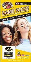 University of Iowa (UI) Hawkeyes – Waterless Peel & Stick Temporary Tattoos – 12-Piece Combo – 8 Black/Gold Tigerhawk Logo Spirit Tattoos & 4 Gold Tigerhawk Logo on Black Eye Strips