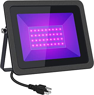 HWay 60W UV LED Black Lights Flood Light with Plug(5ft Cable), IP66 Waterproof, for Blacklight Party, Glow in Dark Party, DJ Disco Night Club, Body Paint, Fluorescent Poster (1Pack)