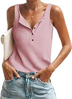 Womens Waffle Knit Tank Tops Summer Button Down Henley Shirts Sleeveless Tees