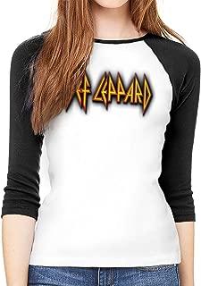 Def Leppard Journey 2018 TOU Hysteria Women Baseball T-Shirt 3/4 Sleeve Tee Tops