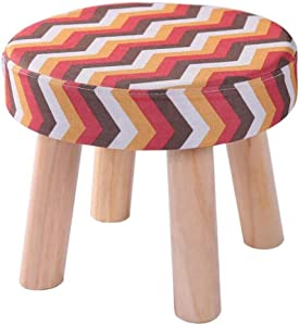 Carl Artbay Wooden Footstool Red Yellow Stripes Low Stool Four Legged Stool Round Child's Stool Home