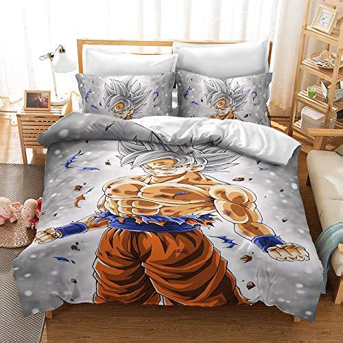 DDONVG Juego de ropa de cama con estampado 3D de Dragon Ball, 135 x 200, con funda de edredón y funda de almohada, adecuado como regalo para niños (D, 140 x 210cm)