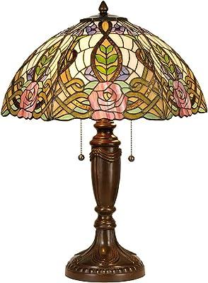 Lumilamp 5LL-5370 Lampe de table Motif fleurs Vert/naturel/violet Ø 47 x 61 cm 2 ampoules E27 max. 60 W Verre coloré décoratif fait main