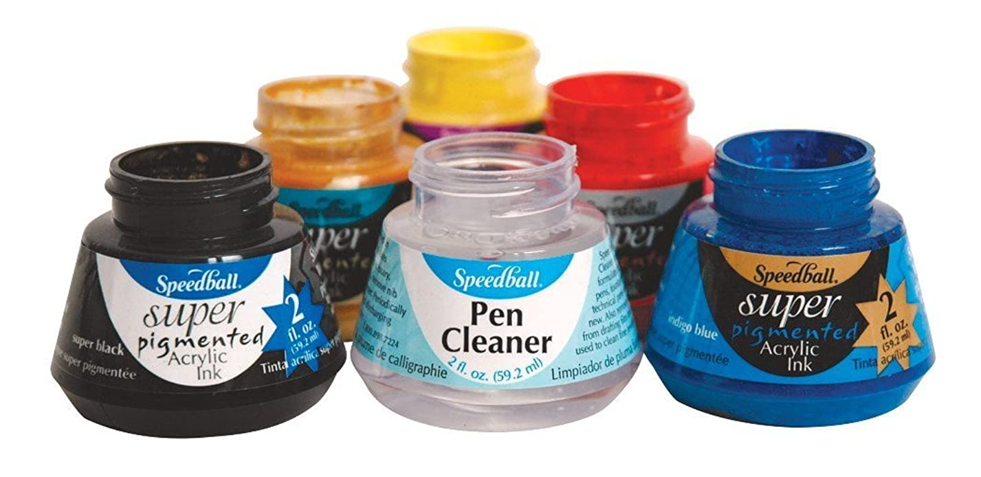 Speedball Super Pigmented Acrylic Ink and Pen Cleaner Set, Set of 6 il56349444