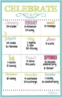 Birthday Calendar Magnet White