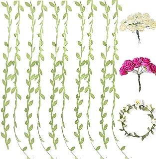 132ft Artificial Vines Fake Leaves Ribbon Plus 96pcs Rose Flowers with Stems,Bonus 16pcs Wreath Garlands,DIY Multicolor Flower Crown Wreath Headband Garland,Party,Wedding,Crafts Decors