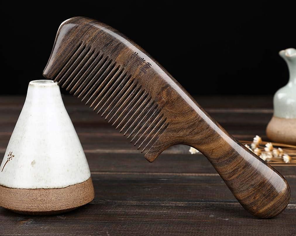 大大レザー木の毛の櫛の広い歯木女性の男性の長い毛のための反空電